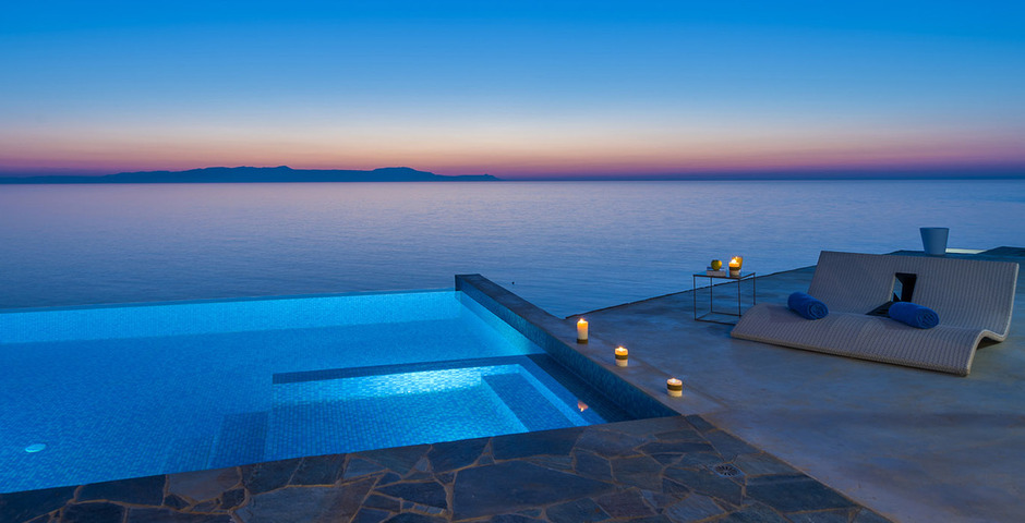 Show luxury villa crete seafront infinity private pool 15