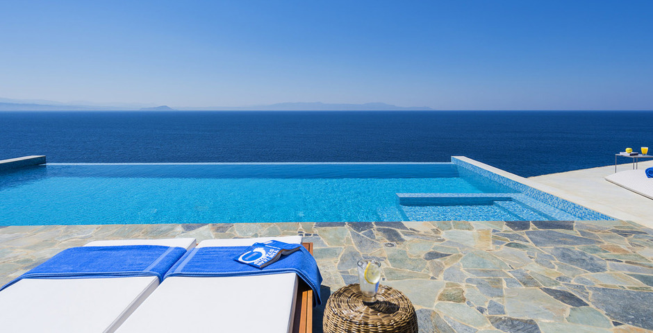Show luxury villa crete seafront infinity private pool 13