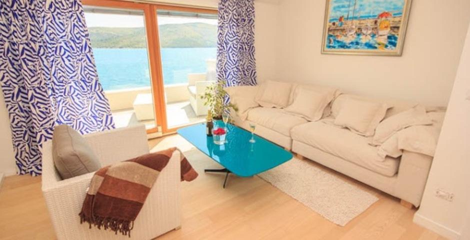 Show luxury villa trogir croatia livingroom area with seaview