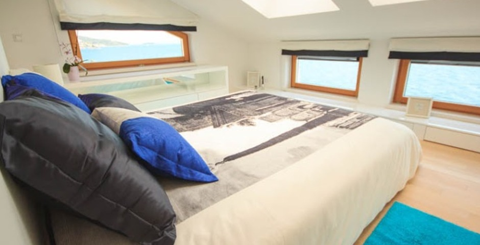 Show luxury villa trogir croatia attic bedroom with amazing seaview