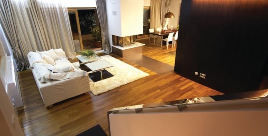 Show luxury villa trogir croatia livingroom view from stairs