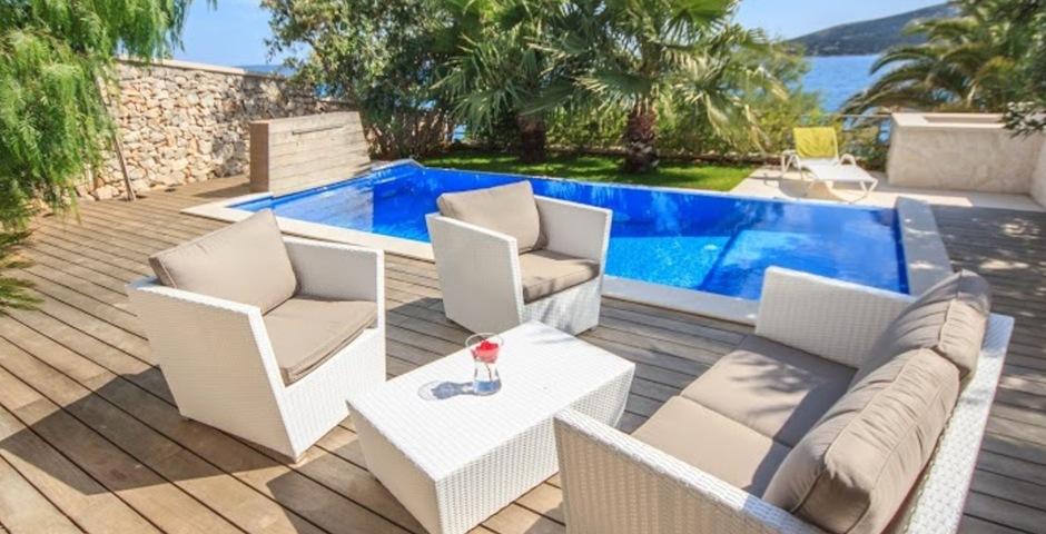 Show luxury villa trogir croatia outside swimmingpool area