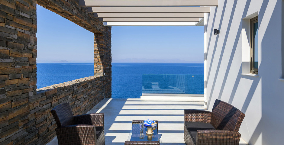 Show luxury villa crete seafront upper terrace 1