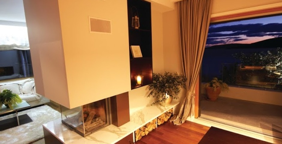 Show luxury villa trogir croatia living room with fireplace