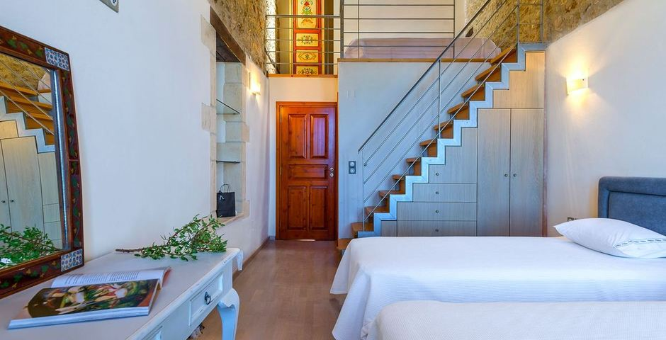 Show luxury traditional villa old mill mouranas crete greece bedroom mezzanine