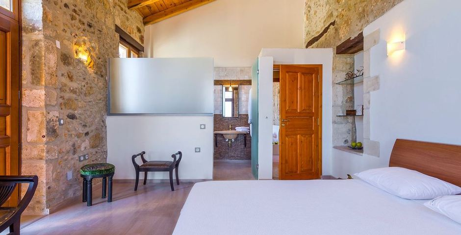 Show luxury traditional villa old mill mouranas crete greece bedroom ensuite bathroom
