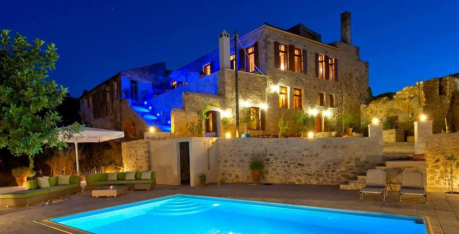 Show luxury traditional villa old mill mouranas crete greece by night