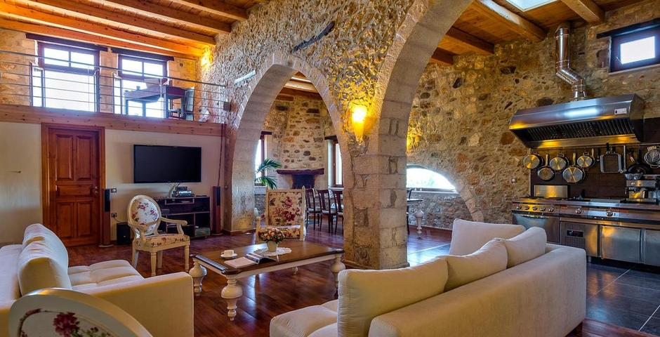 Show luxury traditional villa old mill mouranas crete greece american kitchen