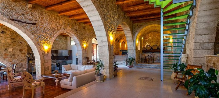 Results luxury traditional villa old mill mouranas crete greece archeological restoration
