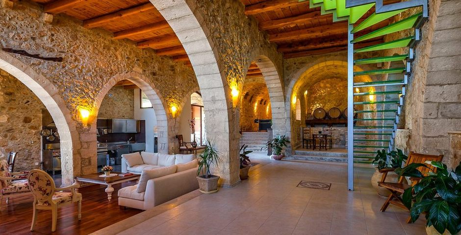 Show luxury traditional villa old mill mouranas crete greece archeological restoration