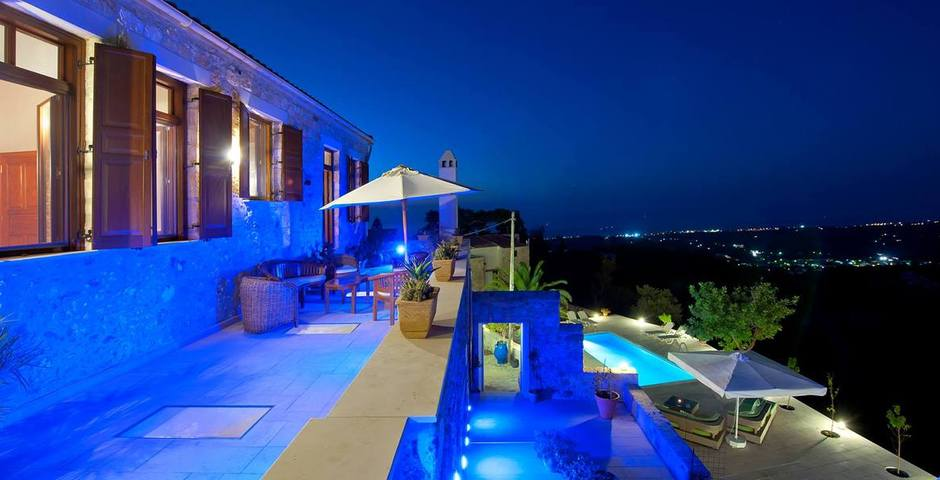 Show luxury traditional villa old mill mouranas crete greece night