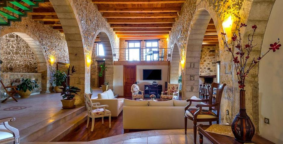 Show luxury traditional villa old mill mouranas crete greece living area