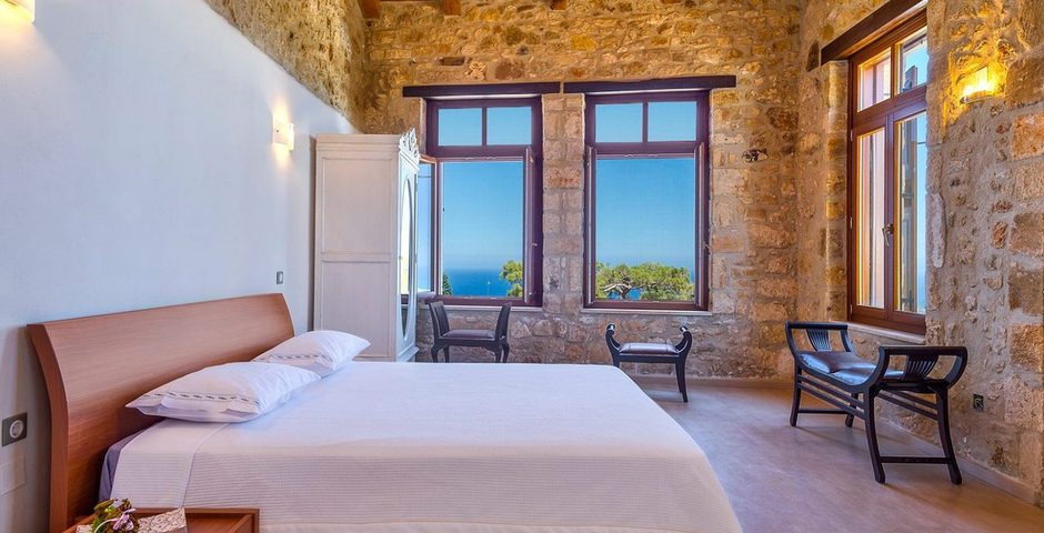 Show luxury traditional villa old mill mouranas crete greece seaview bedroom