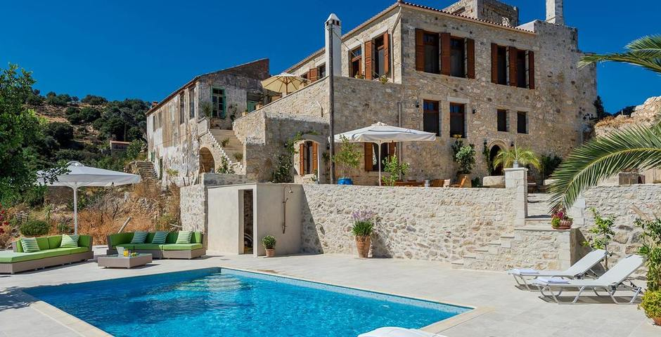 Show luxury traditional villa old mill mouranas crete greece sleeps 12 people