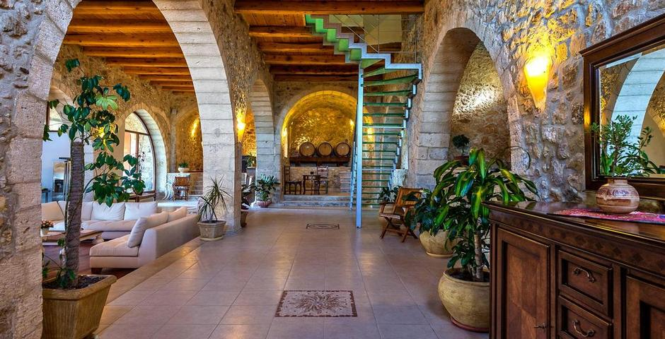 Show luxury traditional villa old mill mouranas crete greece stone walls