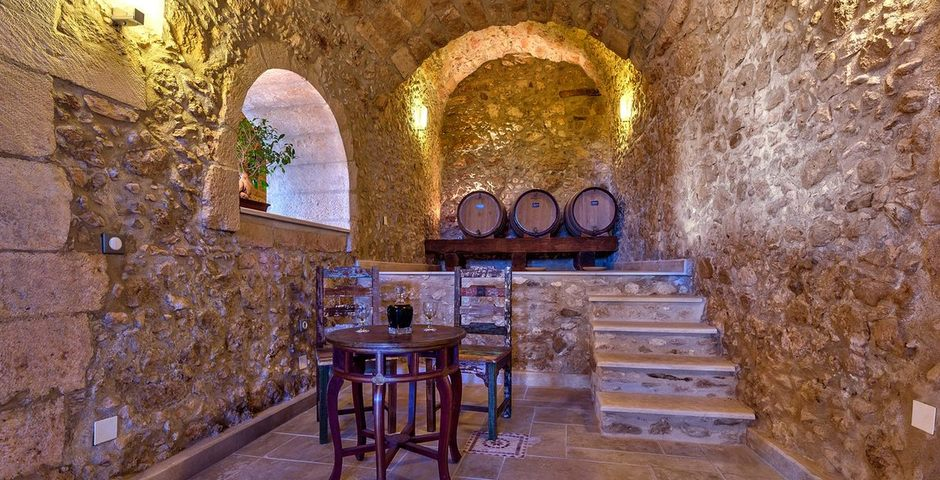 Show luxury traditional villa old mill mouranas crete greece wine cellar