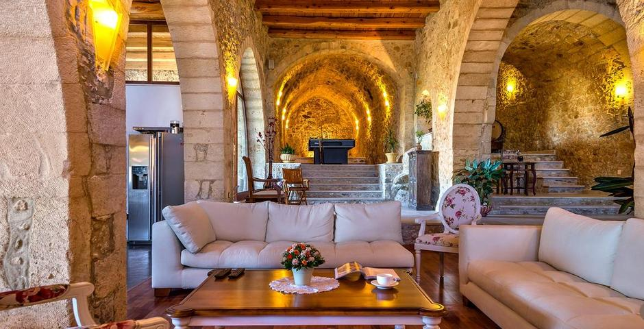 Show luxury traditional villa old mill mouranas crete greece unique traditional interior