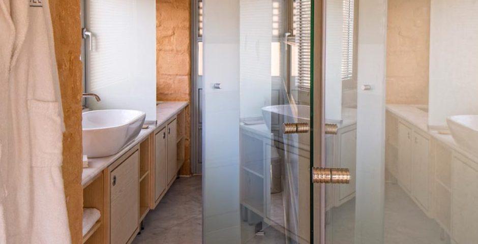 Show luxury stone villa akrotiri crete greece bathroom