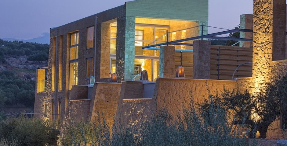 Show luxury seafront stone villa akrotiri crete greece