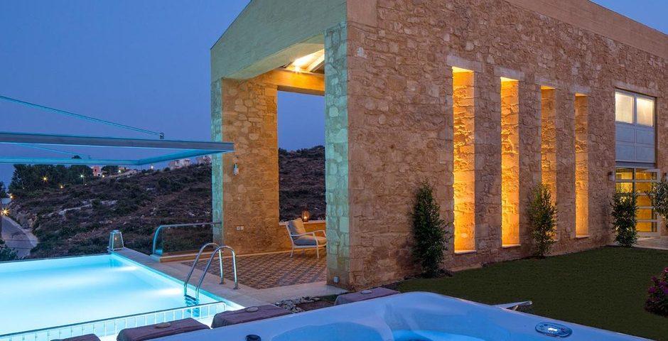 Show luxury stone villa akrotiri crete greece jacuzzi
