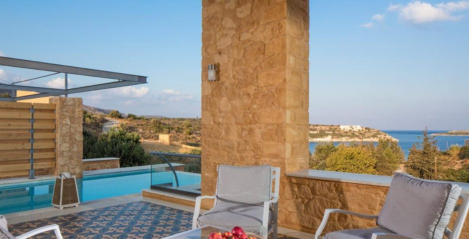 Show luxury stone villa akrotiri crete greece loutraki bay
