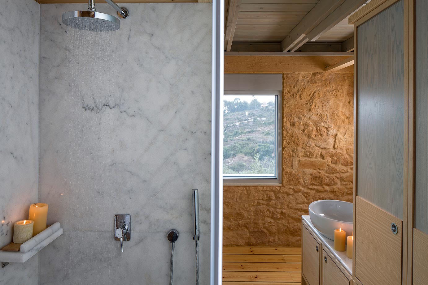 show luxury stone villa akrotiri crete greece stone bathroom - Luxury Stone Showers