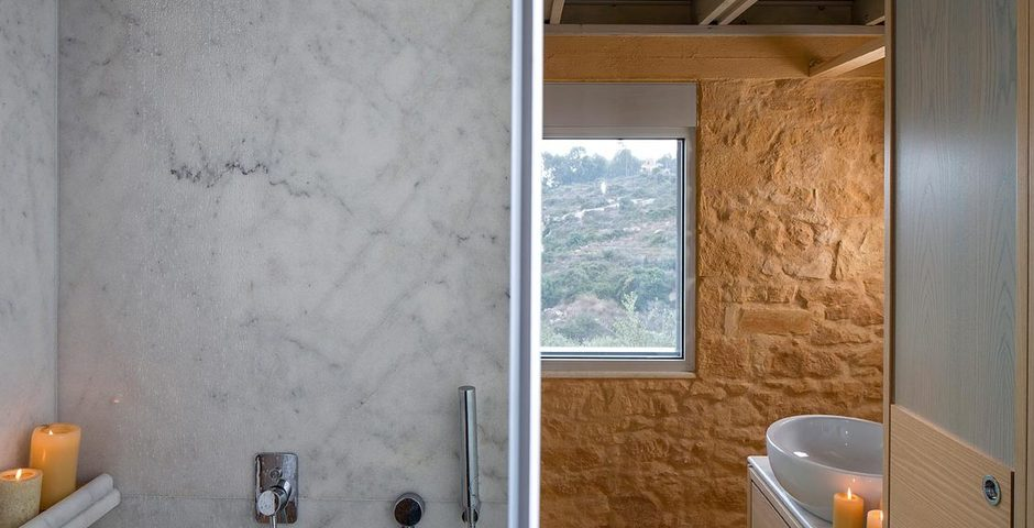 Show luxury stone villa akrotiri crete greece stone bathroom
