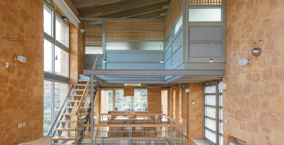 Show luxury stone villa akrotiri crete greece modern architecture