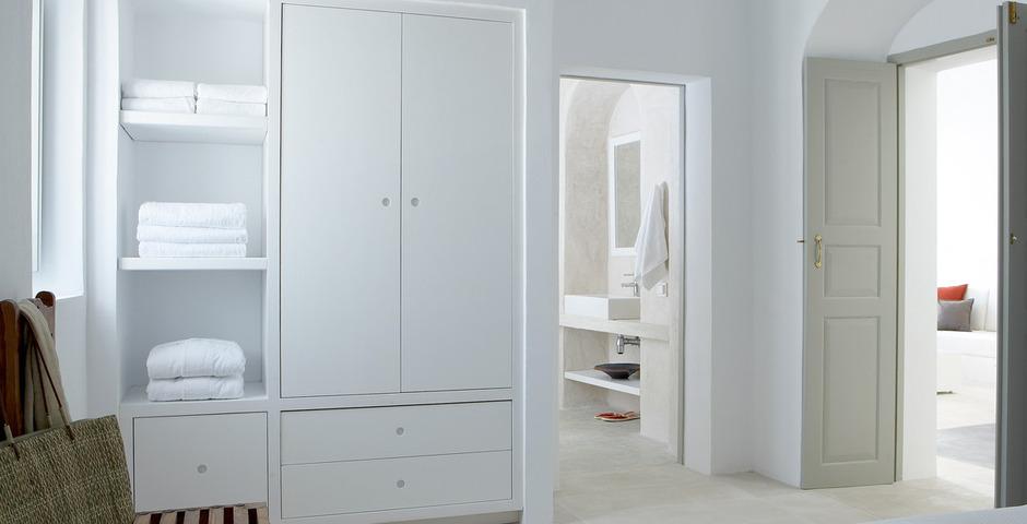 Show luxury villa santorini greece old factory loft style canava bedroom bathroom