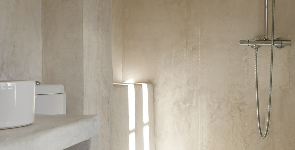 Show luxury villa santorini greece old factory loft style canava bathroom detail