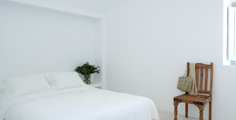 Show luxury villa santorini greece old factory loft style canava bedroom