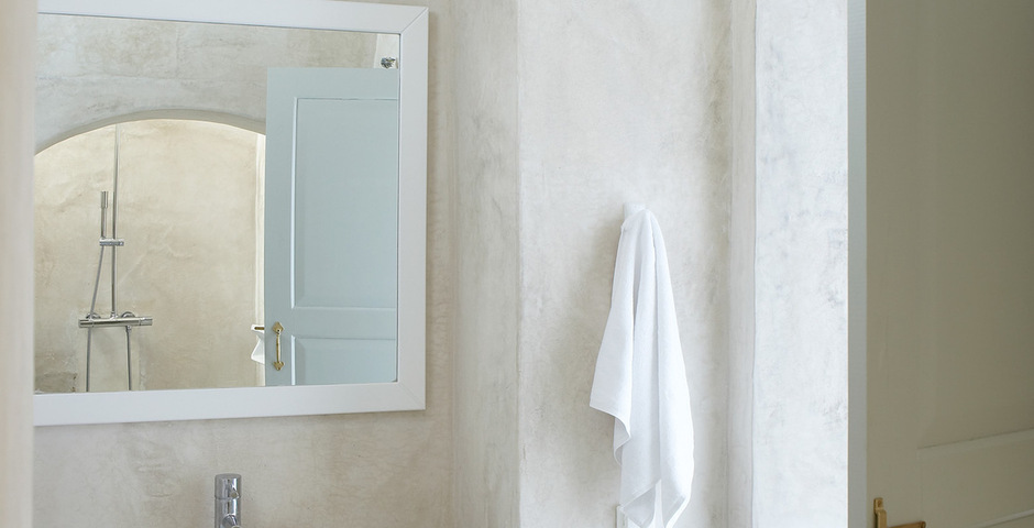 Show luxury villa santorini greece old factory loft style canava bathroom