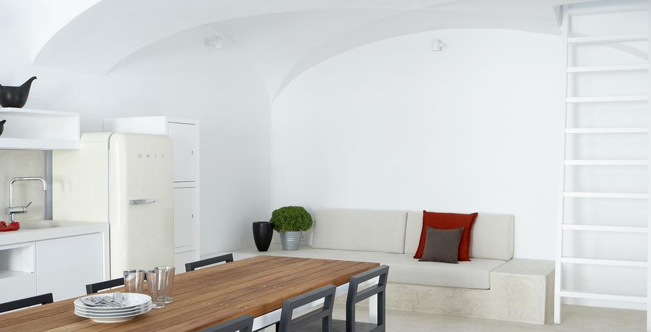 Show luxury villa santorini greece old factory loft style canava living dining area