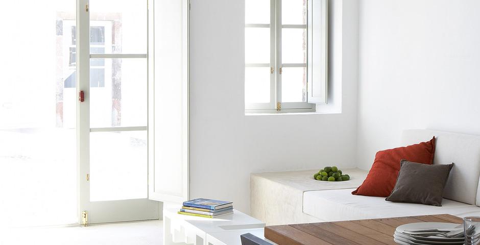 Show luxury villa santorini greece old factory loft style canava living area