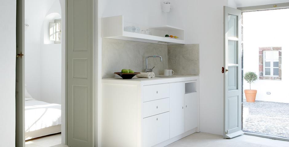 Show luxury villa santorini greece old factory loft style katiki kitchen