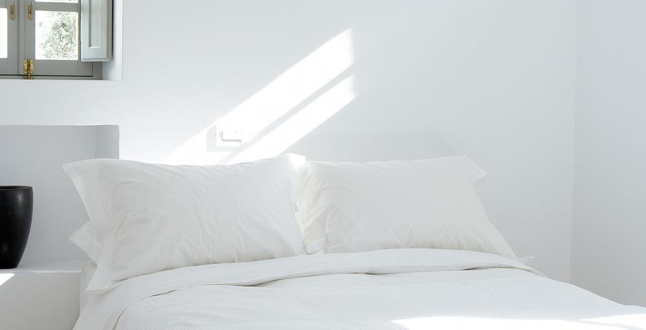 Show luxury villa santorini greece old factory loft style katikia bedroom