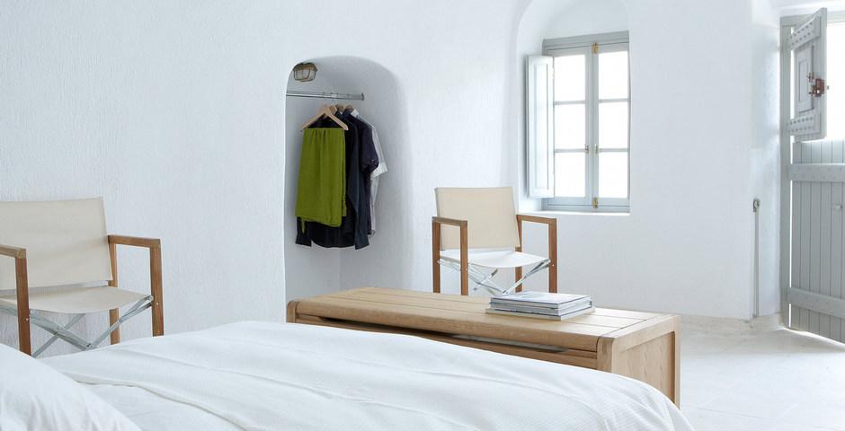 Show luxury villa santorini greece old factory loft style katoy bedroom