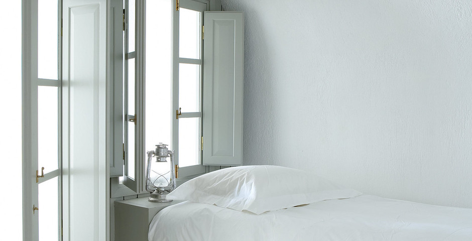 Show luxury villa santorini greece old factory loft style katy bedroom detail