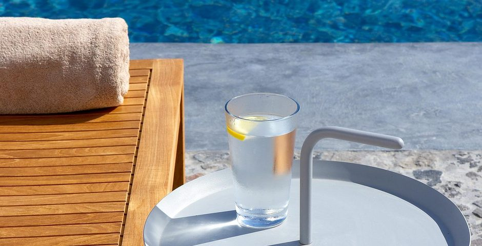 Show luxury villa santorini greece old factory loft style leisure pool chill