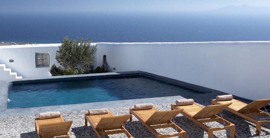 Show luxury villa santorini greece old factory loft style leisure pool area