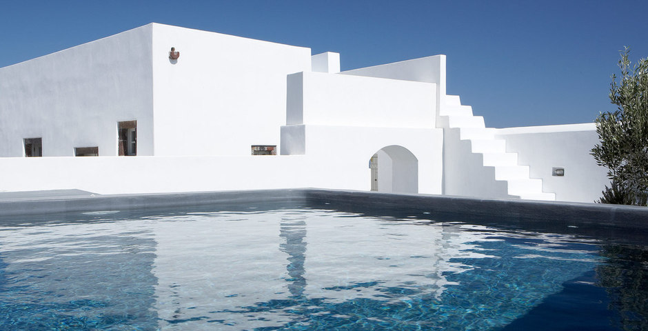 Show luxury villa santorini greece old factory loft style leisure pool detail