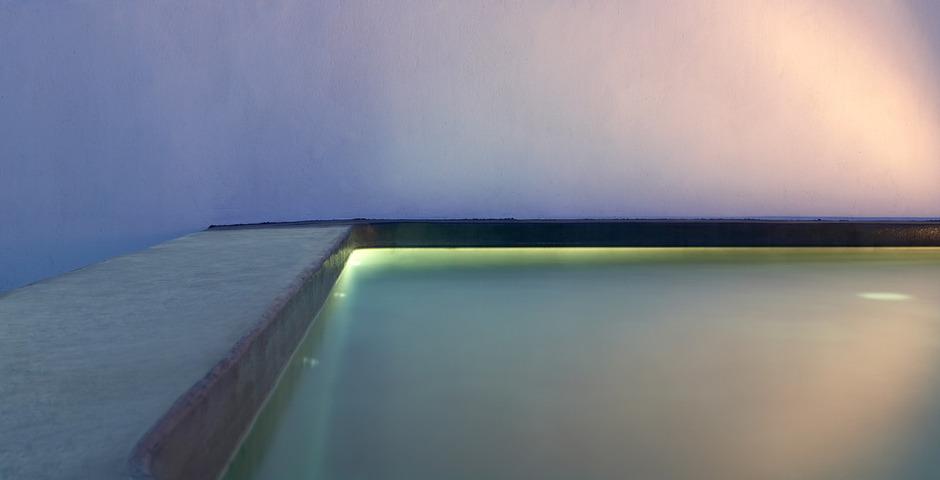 Show luxury villa santorini greece old factory loft style leisure pool night