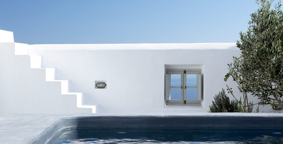 Show luxury villa santorini greece old factory loft style leisure pool outdoor window