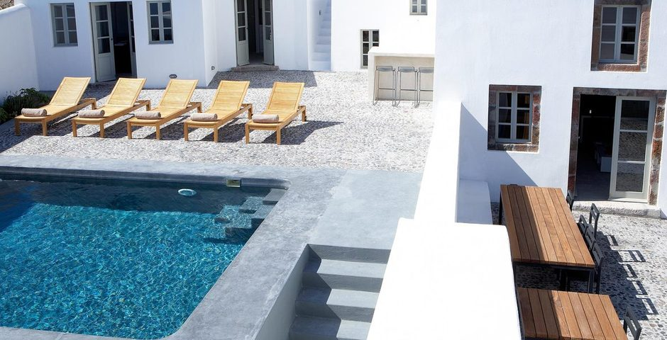 Show luxury villa santorini greece old factory loft style leisurepool courtyard