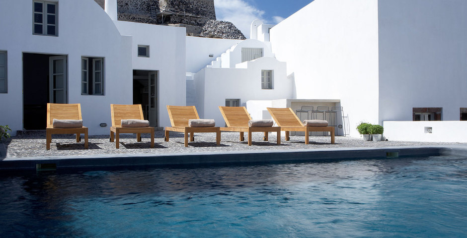 Show luxury villa santorini greece old factory loft style leiusre pool