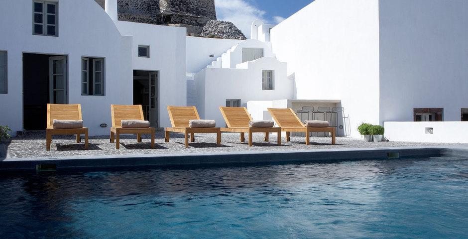 Show luxury villa santorini greece old factory loft style leiusre pool