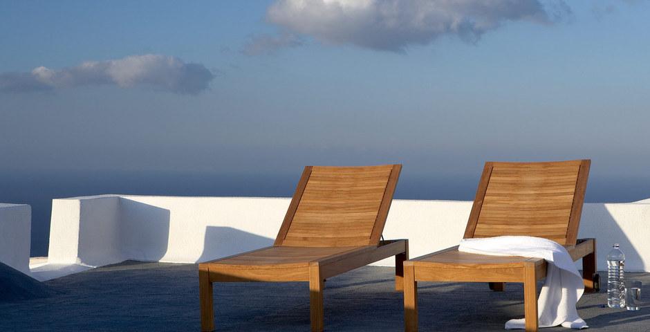 Show luxury villa santorini greece old factory loft style middle level terrace