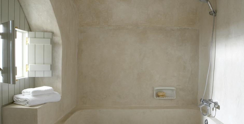 Show luxury villa santorini greece old factory loft style milos bathroom