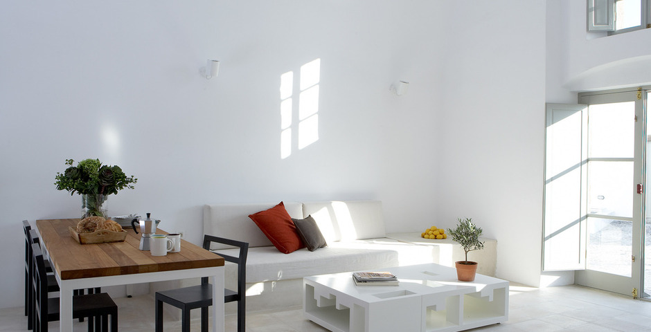 Show luxury villa santorini greece old factory loft style milos dining living area