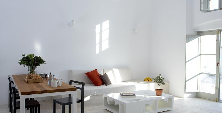 Show luxury villa santorini greece old factory loft style milos dining living area